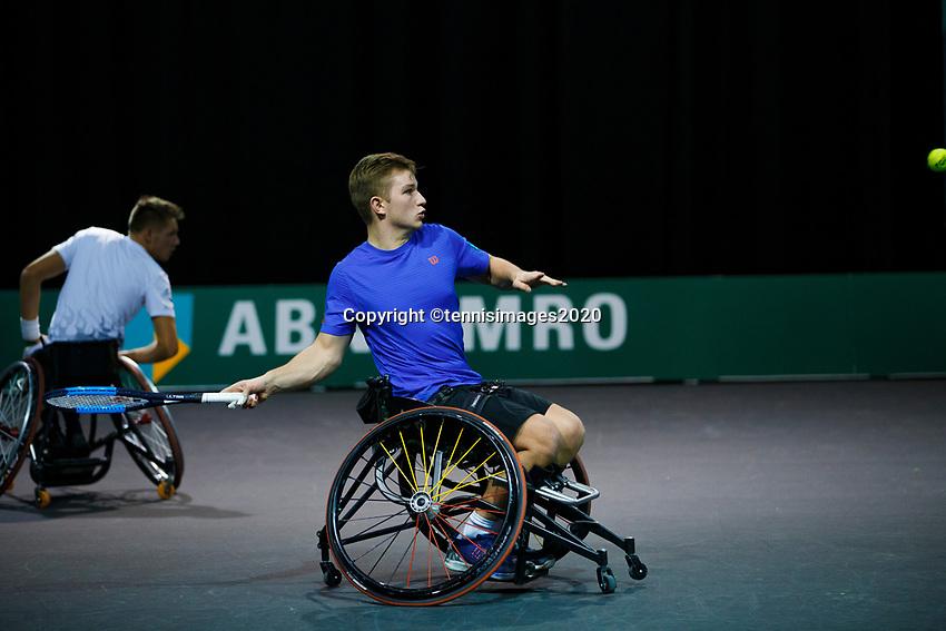 Rotterdam, The Netherlands, 11 Februari 2020, ABNAMRO World Tennis Tournament, Ahoy, <br /> Wheelchair tennis: Ruben Spaargaren (NED) / Jef Vandorpe. (BEL). <br /> Photo: www.tennisimages.com
