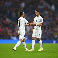 9th October 2021; Hampden Park, Glasgow, Scotland; FIFA World Cup football qualification, Scotland versus Israel;  Eran Zahavi of Israel celebrates with Munas Dabbur of Israel after he makes it 0-1 to Israel in the 5th minute
