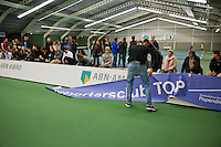 Januari 24, 2015, Rotterdam, ABNAMRO, Supermatch, supporters placing a banner.<br /> Photo: Tennisimages/Henk Koster