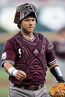 Mississippi State Bulldogs catcher Dustin Skelton (8) during Game 10 of the NCAA College World Series against the Louisville Cardinals on June 20, 2019 at TD Ameritrade Park in Omaha, Nebraska. Louisville defeated Mississippi State 4-3. (Andrew Woolley/Four Seam Images)