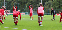 players of Standard pictured during the warming up of a female soccer game between Standard Femina de Liege and White Star Woluwe on the fifth matchday of the 2021 - 2022 season of Belgian Scooore Womens Super League , saturday 2 nd of October 2021  in Angleur , Belgium . PHOTO SPORTPIX   SEVIL OKTEM