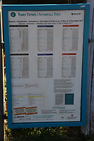 The timetable at Sugar Loaf railway station, the most remote station on the Heart of Wales Line, situated by the A483 road, Powys, Wales, UK. Friday 01 December 2017