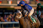 November 6, 2020: Essential Quality, ridden by Luis Saez, wins the TVG Juvenile Presented By Thoroughbred Aftercare Alliance on Breeders' Cup Championship Friday at Keeneland on November 6, 2020: in Lexington, Kentucky. Alex Evers/Breeders' Cup/Eclipse Sportswire/CSM