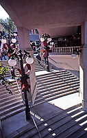 Horton Plaza: Jon Jerde, Architect, 1985. Stairway leading into mall. Photo 1987.