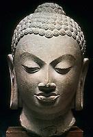 "India: Buddha Head--late 5th Century. Buff sandstone, 9 3/8 "". Sarnath, Uttar Pradesh."