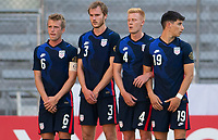 GUADALAJARA, MEXICO - MARCH 28: Jackson Yueill #6, Henry Kessler #3, Justen Glad #4 and Sebastian Soto #19 of the United States create a wall during a game between Honduras and USMNT U-23 at Estadio Jalisco on March 28, 2021 in Guadalajara, Mexico.