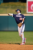 Second baseman Marcelo Mayer (10) throws to first base during the Baseball Factory All-Star Classic at Dr. Pepper Ballpark on October 4, 2020 in Frisco, Texas.  Marcelo Mayer (10), a resident of Chula Vista, California, attends Eastlake High School.  (Ken Murphy/Four Seam Images)