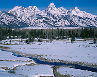 Winter morning light at Blacktail Pond Overlook; Grand Teton National Park, WY