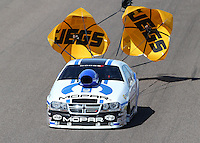 Feb. 24, 2013; Chandler, AZ, USA; NHRA pro stock driver Allen Johnson during the Arizona Nationals at Firebird International Raceway. Mandatory Credit: Mark J. Rebilas-