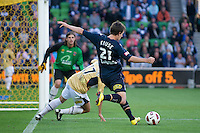 MELBOURNE, AUSTRALIA - DECEMBER 27: Robbie Kruse of the Victory centers the ball during the round 20 A-League match between the Melbourne Victory and the Newcastle Jets at AAMI Park on December 27, 2010 in Melbourne, Australia. (Photo by Sydney Low / Asterisk Images)