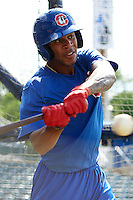 Chattanooga Lookouts outfielder Byron Buxton (7) during practice before a game against the Jacksonville Suns on April 30, 2015 at AT&T Field in Chattanooga, Tennessee.  Jacksonville defeated Chattanooga 6-4.  (Mike Janes/Four Seam Images)