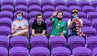 ORLANDO, FL - FEBRUARY 18: Fans cheer before a game between Argentina and Brazil at Exploria Stadium on February 18, 2021 in Orlando, Florida.