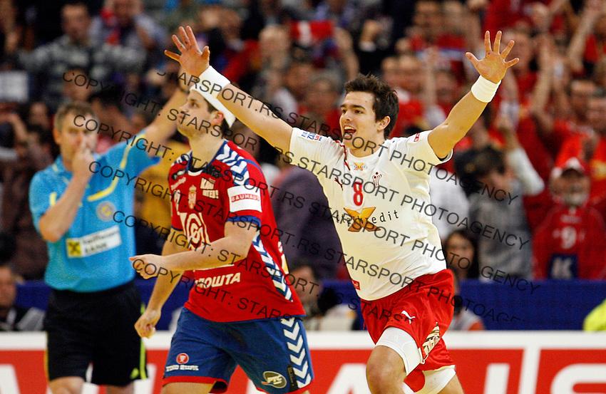 Rasmus Lauge Schmidt celebrate during men`s EHF EURO 2012 handball championship final game between Serbia and Denmark in Belgrade, Serbia, Sunday, January 29, 2011.  (photo: Pedja Milosavljevic / thepedja@gmail.com / +381641260959)