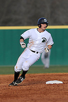 Right fielder Cody Brittain (18) of the University of South Carolina Upstate Spartans rounds second in a game against the Winthrop University Eagles on Wednesday, March 4, 2015, at Cleveland S. Harley Park in Spartanburg, South Carolina. Upstate won, 12-3. (Tom Priddy/Four Seam Images)