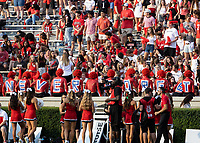 """ATHENS, GA - SEPTEMBER 11: Georgia Bulldog fans honor 9/11 with """"NEVER FORGET"""" during a game between University of Alabama Birmingham Blazers and University of Georgia Bulldogs at Sanford Stadium on September 11, 2021 in Athens, Georgia."""