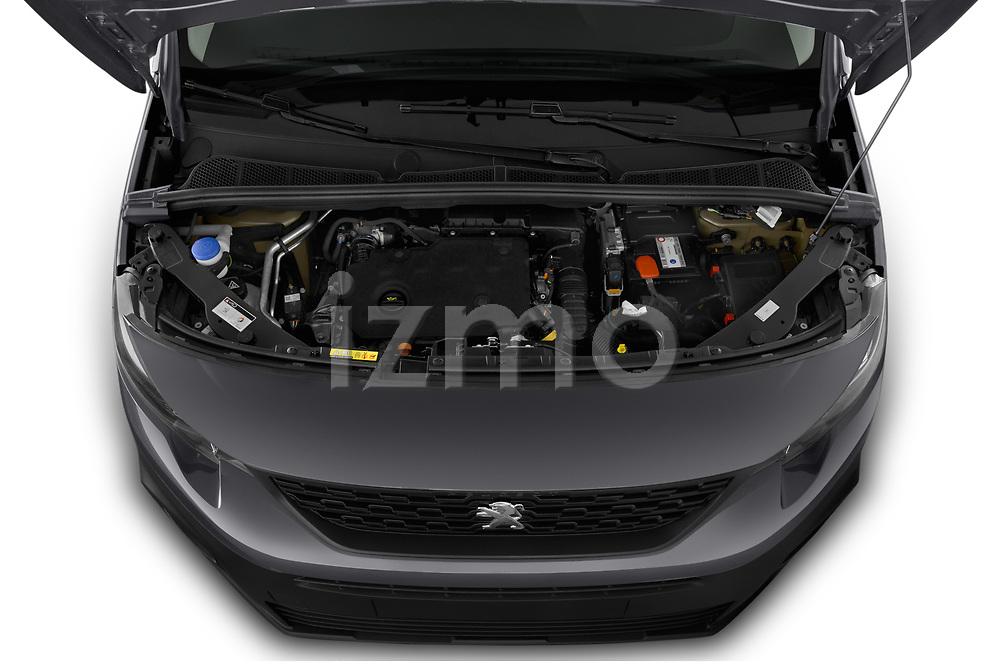 Car Stock 2019 Peugeot Partner Pemium 4 Door Car Van Engine  high angle detail view