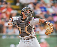 20 August 2015: Tri-City ValleyCats catcher Anthony Hermelyn in action against the Vermont Lake Monsters at Centennial Field in Burlington, Vermont. The Stedler Division-leading ValleyCats defeated the Lake Monsters 5-2 in NY Penn League action. Mandatory Credit: Ed Wolfstein Photo *** RAW Image File Available ****