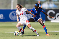 Bradenton, FL - Sunday, June 12, 2018: Julianne Vallerand, Estericove Joseph prior to a U-17 Women's Championship 3rd place match between Canada and Haiti at IMG Academy. Canada defeated Haiti 2-1.