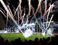 Fireworks fil the stadium during the Steinlager Series international rugby test match between All Blacks and Ireland at Eden Park, Auckland, New Zealand on Saturday, 9 June 2012. Photo: Dave Lintott / lintottphoto.co.nz