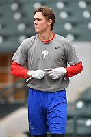 Center fielder Mickey Moniak (22) of the Lakewood BlueClaws during batting practice prior to a game against the Columbia Fireflies on Friday, May 5, 2017, at Spirit Communications Park in Columbia, South Carolina. Lakewood won, 12-2. (Tom Priddy/Four Seam Images)