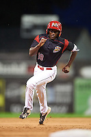 Batavia Muckdogs left fielder Isaiah White (18) running the bases during the second game of a doubleheader against the Mahoning Valley Scrappers on August 17, 2016 at Dwyer Stadium in Batavia, New York.  Batavia defeated Mahoning Valley 5-3. (Mike Janes/Four Seam Images)
