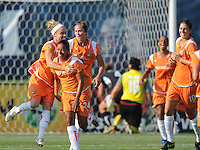 Skyblue FC teammates celebrate midfielder Francielle's game-winning goal. The Skyblue FC defeated the Washington Freedom 2-1 in first round of WPS playoffs at the Maryland Soccerplex, Saturday, August 15, 2009.