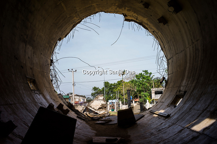The remains of the water tank blown up by the LTTE  seen in North Kilinochchi, Sri Lanka. Photo: Sanjit Das/Panos