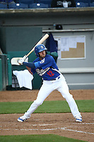 Michael Ahmed (12) of the Rancho Cucamonga Quakes bats against the Lake Elsinore Storm at LoanMart Field on April 10, 2016 in Rancho Cucamonga, California. Lake Elsinore defeated Rancho Cucamonga, 7-6. (Larry Goren/Four Seam Images)