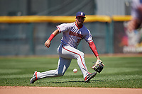 Harrisburg Senators shortstop Luis Garcia (21) fields a ground ball during an Eastern League game against the Erie SeaWolves on June 30, 2019 at UPMC Park in Erie, Pennsylvania.  Erie defeated Harrisburg 4-2.  (Mike Janes/Four Seam Images)