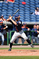 Cal State Fullerton Titans infielder Timmy Richards (13) at bat during a game against the Louisville Cardinals on February 15, 2015 at Bright House Field in Clearwater, Florida.  Cal State Fullerton defeated Louisville 8-6.  (Mike Janes/Four Seam Images)