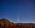 Comet NEOWISE Rises over Sedona.  This comet has been putting on a great show for folks who are willing to forego some sleep to get outdoors during the wee hours.  In this image, captured about an hour before sunrise on July 11, 2020, the comet is rising between Thunder Mountain (also known as Capitol Butte) on the left and Wilson Mountain on the right.  Coffee Pot Rock, one of Sedona's more iconic red rock formations, can be seen in front of and below Wilson Mountain.<br /> <br /> Image ©2020 James D. Peterson