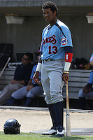 Starlin Castro #13 of the Tennessee Smokies on deck during a game against the Carolina Mudcats on April 20, 2010  in Zebulon, NC.