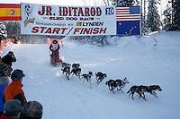 Sunday February 27, 2010  Rebekah Ruzicka leaves the start line of the Junior Iditarod at Willow Lake , Alaska