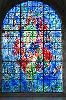 France, Lorraine, Moselle (57), Sarrebourg, chapelle des Cordeliers, vitrail , La Paix, par Marc Chagall, (attention droit demandés par l'ADAGP) // France, Lorraine, Moselle, Sarrebourg, chapel of Cordeliers, stained glass la Paix (Peace) by Marc Chagall (attention right requested by the ADAGP)