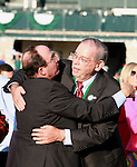 07 October.  #7 Stephanie's Kitten ridden by John Velazquez won the Alcibiades stakes at Keeneland Racecourse.   Owned and bred by Kenneth and Sarah Ramsey, she comes the first Grade I winner for sire, Kitten's Joy..Owner Kenneth Ramsey and trainer Wayne Catalano exchange an embrace.