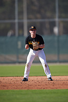 Levi Navinskey (15), from Nortonville, Kansas, while playing for the Pirates during the Baseball Factory Pirate City Christmas Camp & Tournament on December 28, 2017 at Pirate City in Bradenton, Florida.  (Mike Janes/Four Seam Images)