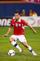 Eduardo Vargas (11) of Chile. Ecuador defeated Chile 3-0 during an international friendly at Citi Field in Flushing, NY, on August 15, 2012.