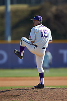High Point Panthers relief pitcher Joe Johnson (15) in action against the NJIT Highlanders at Williard Stadium on February 19, 2017 in High Point, North Carolina. The Panthers defeated the Highlanders 6-5. (Brian Westerholt/Four Seam Images)
