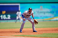 Biloxi Shuckers third baseman Lucas Erceg (17) during a game against the Montgomery Biscuits on May 8, 2018 at Montgomery Riverwalk Stadium in Montgomery, Alabama.  Montgomery defeated Biloxi 10-5.  (Mike Janes/Four Seam Images)