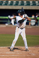 Micah Pries (37) of the Lynchburg Hillcats at bat against the Myrtle Beach Pelicans at Bank of the James Stadium on May 23, 2021 in Lynchburg, Virginia. (Brian Westerholt/Four Seam Images)