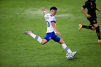 LOS ANGELES, CA - SEPTEMBER 02: Cristian Espinoza #10 of the San Jose Earthquakes sends the ball downfield during a game between San Jose Earthquakes and Los Angeles FC at Banc of California stadium on September 02, 2020 in Los Angeles, California.