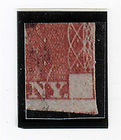 BNPS.co.uk (01202) 558833. <br /> Pic: WilliamGeorge/BNPS<br /> <br /> Pictured: The stamp is missing a letter 'A' from the bottom right corner. <br /> <br /> An 180 year-old British stamp is set to sell for £15,000 as it has an exceptionally rare printing error.<br /> <br /> The 1841 Line Engraved red one penny stamp is missing the letter 'A' in its bottom right hand corner.<br /> <br /> Only 20 were produced before the eagle-eyed printers Perkins Bacon of London spotted the error and corrected it. Most have been damaged since then and there are very few survivors.<br /> <br /> The 'Penny Reds' replaced the short-lived 'Penny Blacks', the world's first adhesive postage stamp which was introduced in 1840.