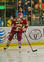 20 February 2016: Boston College Eagle Defenseman Steve Santini, a Junior from Mahopac, NY, in second period action against the University of Vermont Catamounts at Gutterson Fieldhouse in Burlington, Vermont. The Eagles defeated the Catamounts 4-1 in the second game of their weekend series. Mandatory Credit: Ed Wolfstein Photo *** RAW (NEF) Image File Available ***