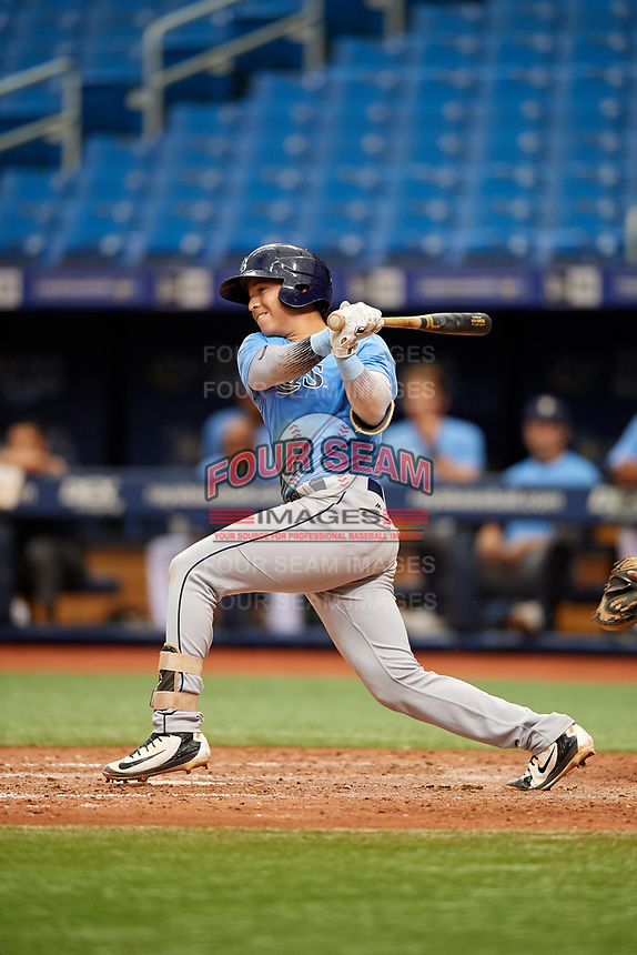 Roberto Alvarez (17) follows through on a swing during the Tampa Bay Rays Instructional League Intrasquad World Series game on October 3, 2018 at the Tropicana Field in St. Petersburg, Florida.  (Mike Janes/Four Seam Images)