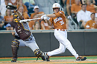 Texas Longhorns outfielder Paul Montalbano #35 strikes out against the Arizona State Sun Devls in NCAA Tournament Super Regional baseball on June 10, 2011 at Disch Falk Field in Austin, Texas. (Photo by Andrew Woolley / Four Seam Images)