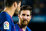 Lionel Andres Messi of FC Barcelona talks to teammate Luis Alberto Suarez Diaz after the La Liga 2017-18 match between FC Barcelona and Real Madrid at Camp Nou on May 06 2018 in Barcelona, Spain. Photo by Vicens Gimenez / Power Sport Images