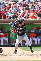 Quad Cities River Bandits designated hitter Jimmy Govern (1) at bat during a game against the Wisconsin Timber Rattlers on July 11, 2021 at Neuroscience Group Field at Fox Cities Stadium in Grand Chute, Wisconsin.  (Brad Krause/Four Seam Images)