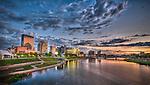 Dayton Ohio Skyline at dusk: HDR