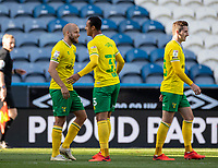 12th September 2020 The John Smiths Stadium, Huddersfield, Yorkshire, England; English Championship Football, Huddersfield Town versus Norwich City;  Adam Idah (35) of Norwich City congratulated by Teemu Pukki of Norwich City for his winning goal for 0-1 in the 80th minute