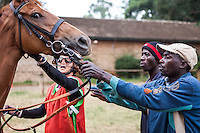 After more than 20 years of competitive racing Lesley Sercombe, left, has won 12 championships, and  is currently the only woman jockey racing in Kenya. The head lad Godfrey Asidigwa, center and Tom Wikesar, right help settle the horse for Sercombe. Sercombe begins her daily riding routine at 6 am and rides until 9:30 then oversees feeding in the yards. Her fitness routine is legendary. After riding she will often run 20 Km. Her family is deeply involved in the Kenyan horseracing scene. Her mother Patsy Sercombe is a leading trainer, Her father John is the course vetrinarian and one of the directors of the Jockey Club of Kenya. Nairobi, Kenya. March 13, 2013. Photo: Brendan Bannon